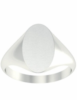 White Gold Signet Ring Oval Face