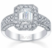 Wide Band Milgrain Micropave Halo Ring