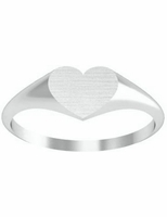 Wide Heart White Gold Signet Rings