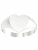 Women's Signet Ring Heart Solid Back