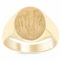 Womens Signet Rings Solid Back in 14kt Gold