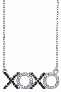 XOXO White Diamond & Black Diamond Pendant - click to enlarge