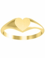 Yellow 14k Gold Signet Ring Heart