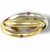 Gold Trinity Ring with Diamonds and Rubies