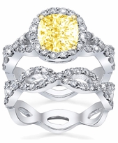 Yellow Diamond Bridal Set Twist Shank