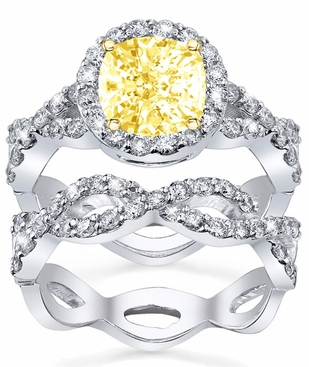 Yellow Diamond Bridal Set Twist Shank - click to enlarge