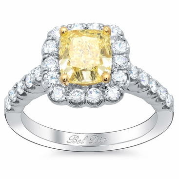 Yellow Diamond Cushion Halo Engagement Ring - click to enlarge