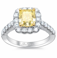 Yellow Diamond Cushion Halo Engagement Ring