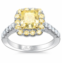 Yellow Diamond Halo Engagement Ring for Canary Cushion Diamond