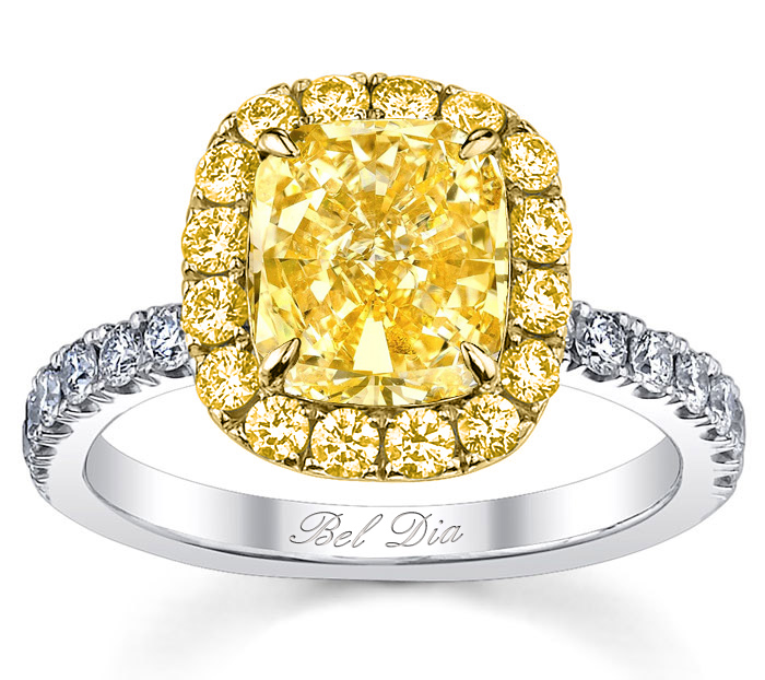 Fancy Yellow Diamond Engagement Ring Halo For Canary