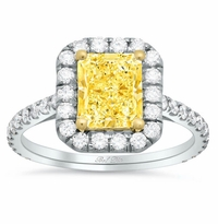 Yellow Diamond Halo Engagement Ring for Radiant Cut