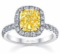 Yellow Diamond Halo Ring 0.60 cttw