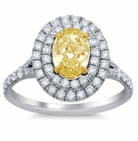 Yellow Diamond Oval Baby Split Double Halo Engagement Ring