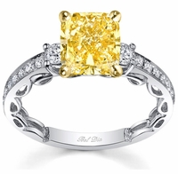Yellow Diamond Three Stone Engagement Ring