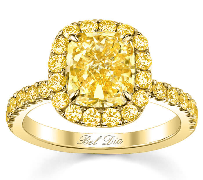 Yellow Gold Canary Diamond Halo Engagement Ring
