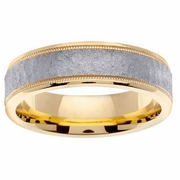 Yellow Gold Mens Handmade Ring with White Hammered Center