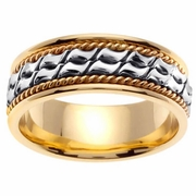 Yellow Gold & Platinum Wedding Ring in 8 mm Comfort Fit