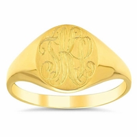 Yellow Gold Signet Ring For Women