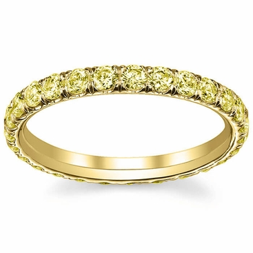 eternity handmade gold yellow womens wedding anniversary stackable diamond carat band pave bands ring