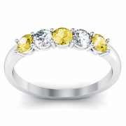 Yellow Sapphire and Diamond 5 Stone Ring