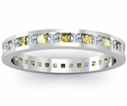 Princess Cut Yellow Sapphire and Diamond Eternity Ring