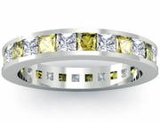 Yellow Sapphire and Diamond Eternity Wedding Ring