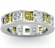 Yellow Sapphire and Diamond Gemstone Eternity Anniversary Ring