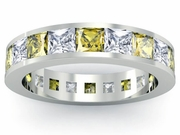 Yellow Sapphire and Diamond Gemstone Eternity Band