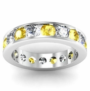 Yellow Sapphire and Diamond Round Gemstone Eternity Band in Channel Setting