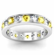 Yellow Sapphire and Diamond Round Gemstone Eternity Ring in Channel Setting