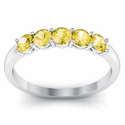 Yellow Sapphire Five Stone Ring