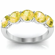 Yellow Sapphire November Birthstone Five Stone Ring