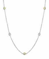 Yellow Sapphires and I1 Diamonds by the Inch Necklace (0.50 cttw)