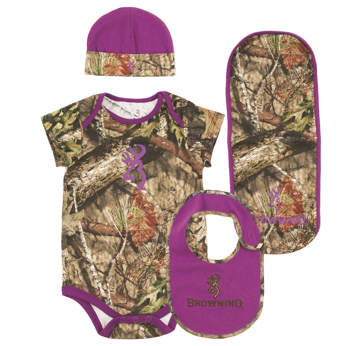 Browning Baby Girl Camo Purple Infant Clothes Set
