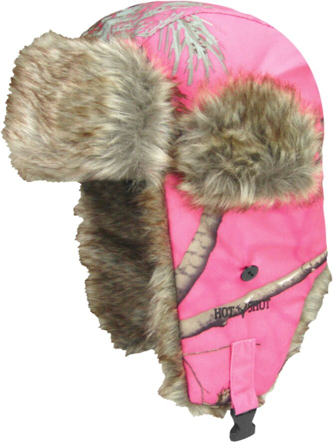 fd335163ec3 Youth Kids Bright Pink Camouflage Trapper Bomber Hat