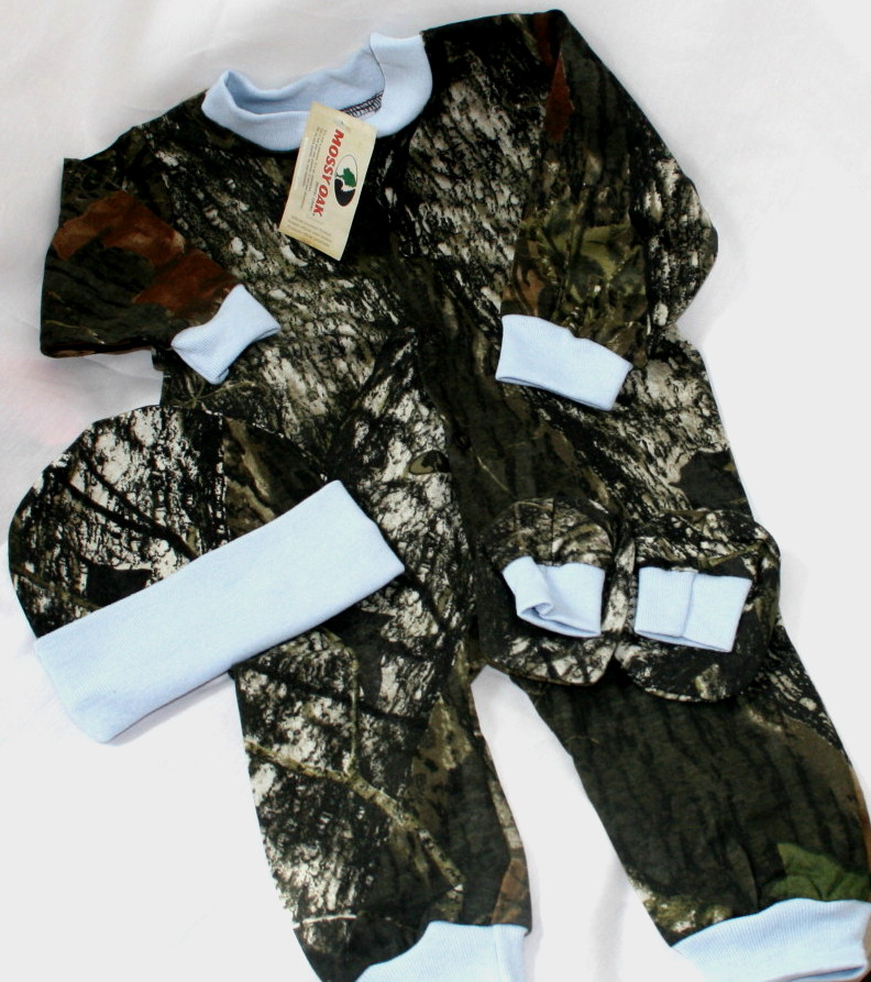 3bb1ef1983668 Mossy Oak Camo & Blue Baby Creeper Set Hat Booties Infant