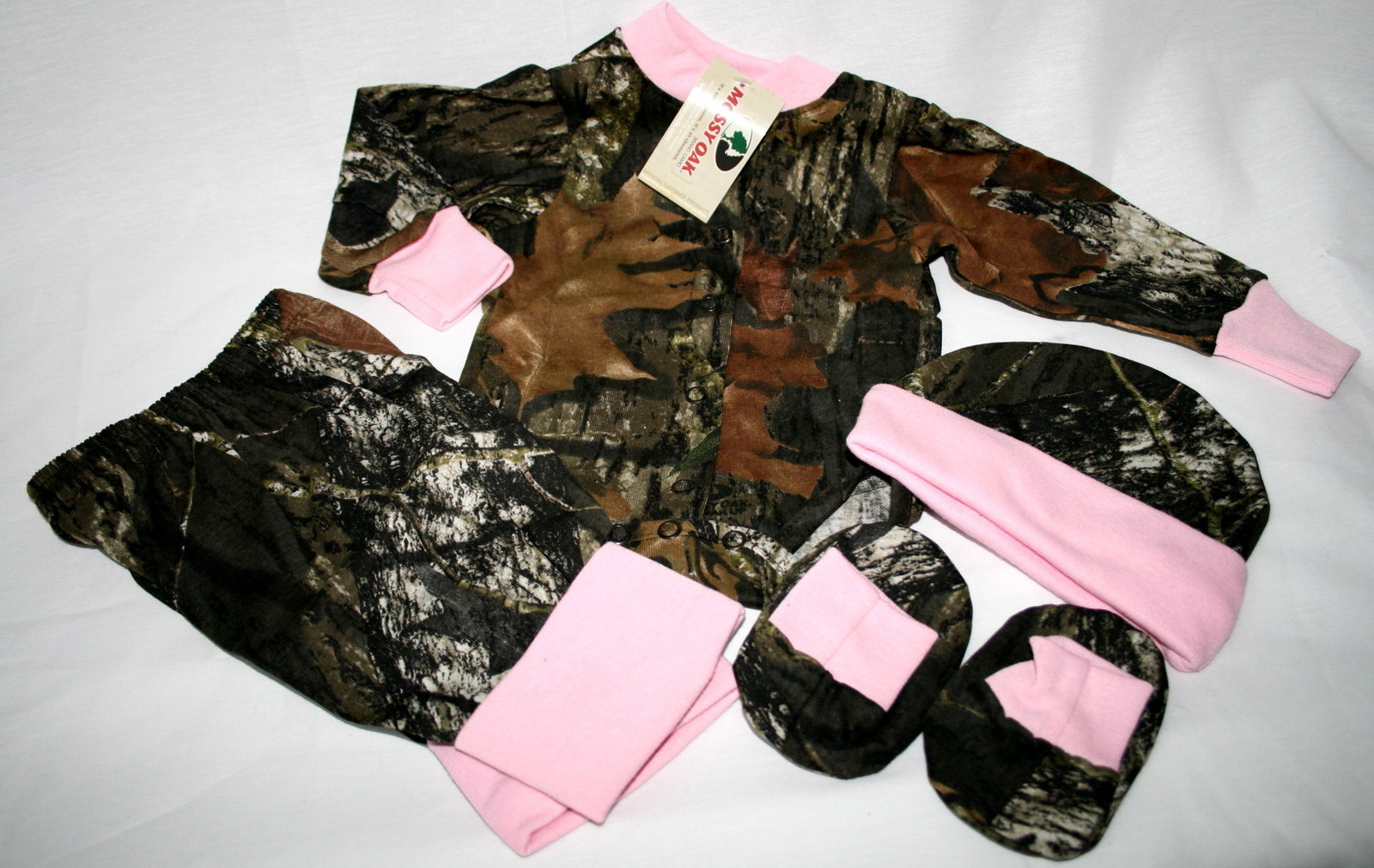 825314a2d0460 Mossy Oak Camo & Pink 4 Pc Infant Baby Girl Set