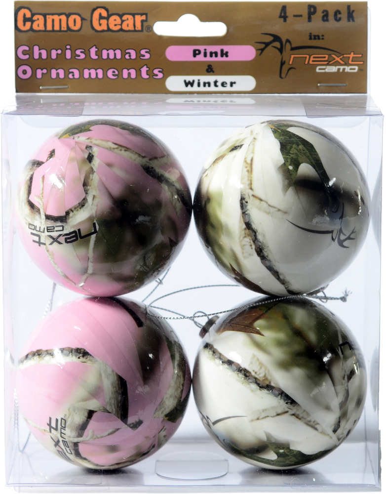 Next Camo Christmas Ornaments - Pink & White