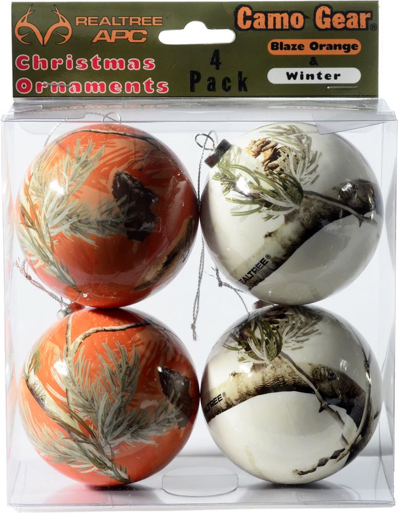 Realtree Camo Christmas Ornaments - Orange & White