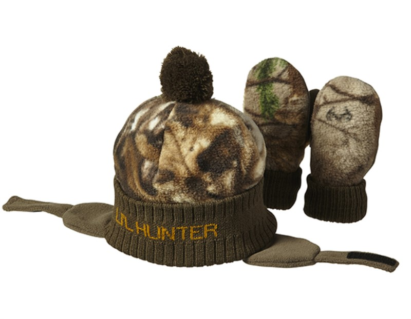 Lil Little Hunter Mossy Oak Camo Pink Hat /& Mittens Toddler Baby Girl/'s