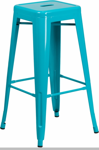 24 39 39 high backless crystal teal blue indoor outdoor counter height stool et bt3503 24 cb gg - Teal blue bar stools ...