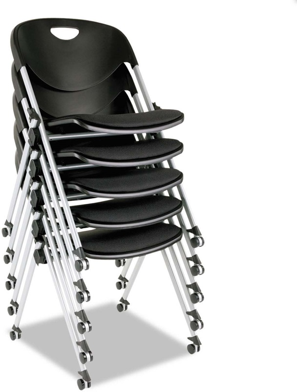 Alera Plus Sl Series Mobile Nesting Stacking Chair With Loop Arms Set Of Two Black