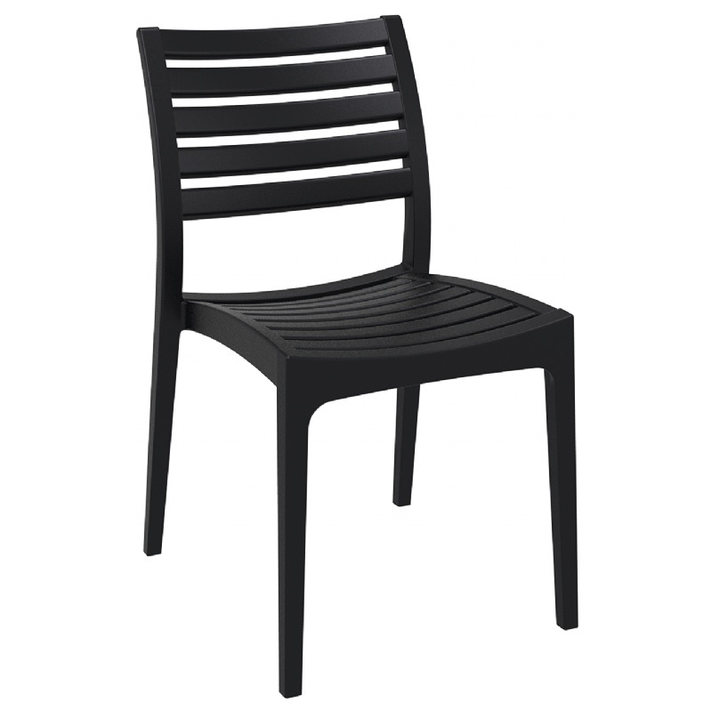 Ares Resin Outdoor Stackable Dining Chair   Black [ISP009 BLA FS CMP]