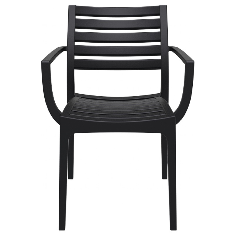 Dining Arm Chairs Black resin outdoor stackable dining arm chair - black [isp011-bla-fs-cmp]