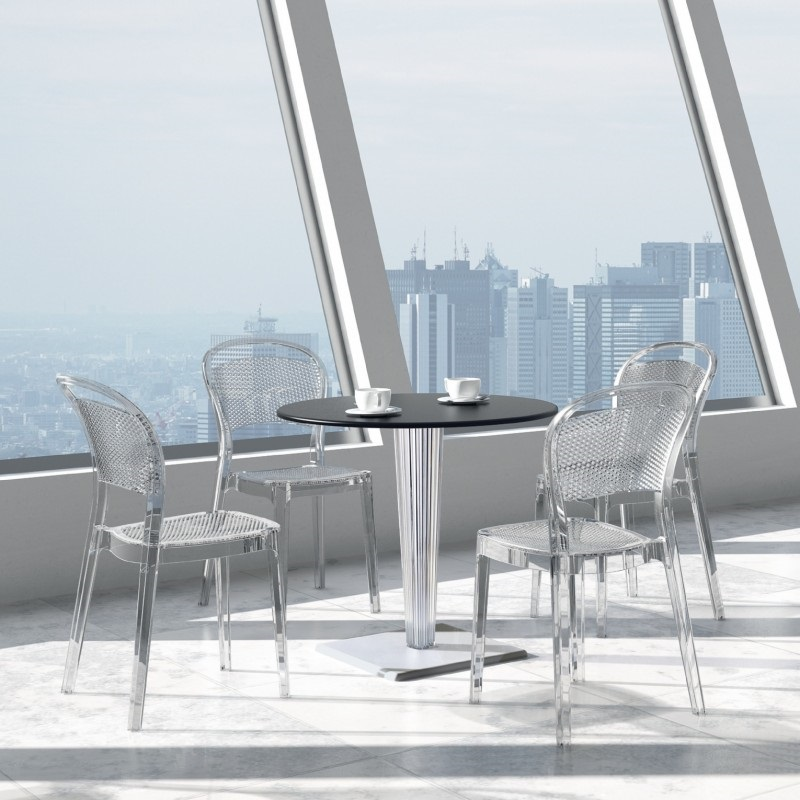 Wonderful Bee Polycarbonate Stackable Dining Chair Transparent Clear  [ISP021 TCL FS CMP]