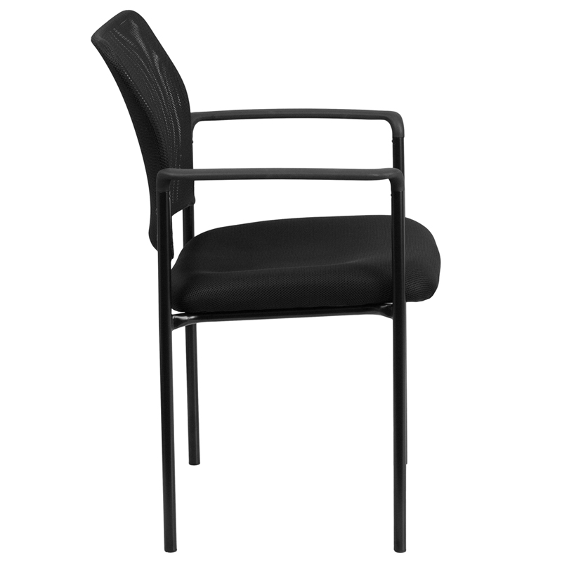 comfort black mesh stackable steel side chair with arms go5162gg