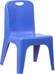 Blue Plastic Stackable School Chair with Carrying Handle and 11'' Seat Height [YU-YCX-011-BLUE-GG]