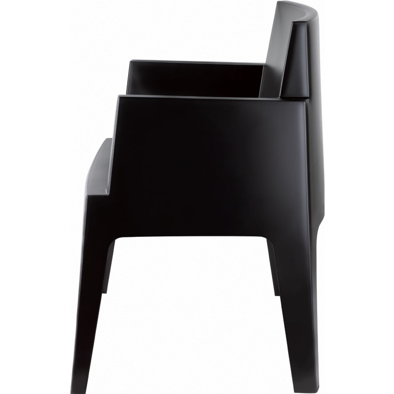 Box Resin Outdoor Stackable Dining Arm Chair   Black [ISP058 BLA FS CMP]