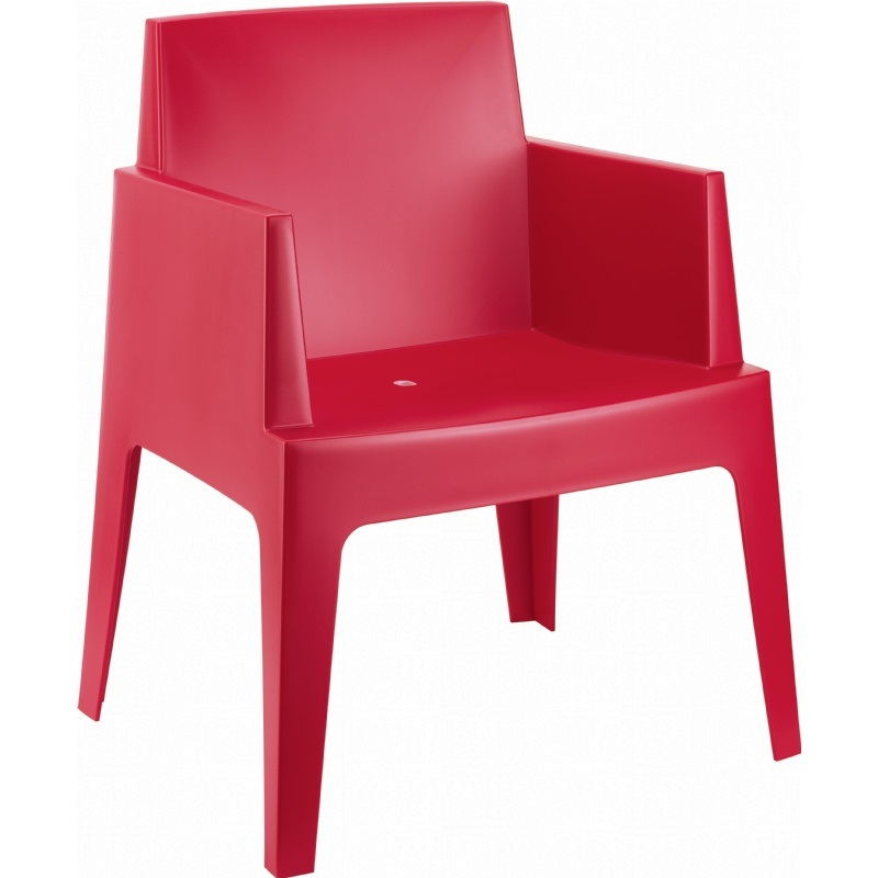 Box Resin Outdoor Dining Arm Chair Red Isp058 Red Fs Cmp