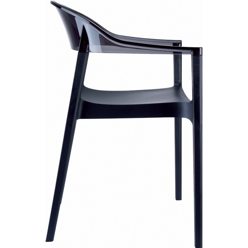 Dining Arm Chairs Black modern polypropylene stackable dining arm chair with transparent